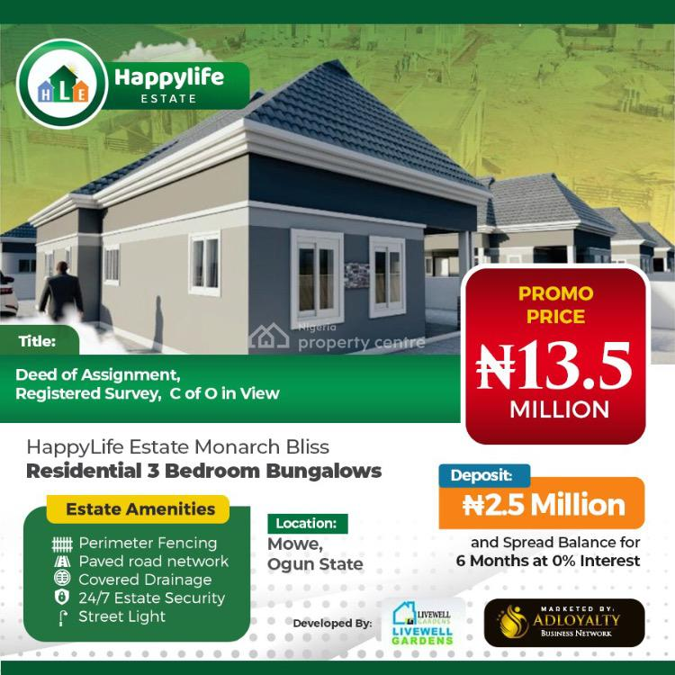 3 Bedroom Fully Detached Bungalows, Happy Life Estate, Mowe , Ogun State., Mowe Town, Ogun, Detached Bungalow for Sale