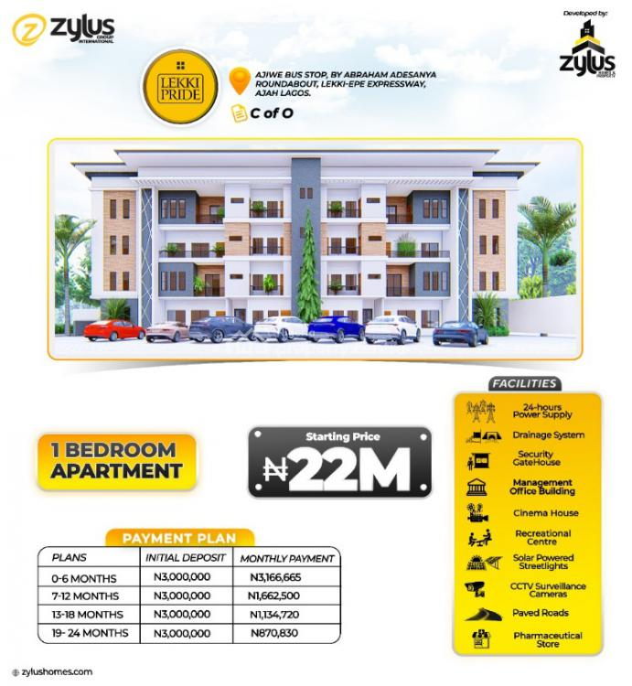Luxury 1 Bedroom + Bq Apartment with C of O, Pride Estate, Ajiwe Bus Stop, By Abraham Adesanya Roundabout, Lekki Expressway, Lekki, Lagos, Block of Flats for Sale