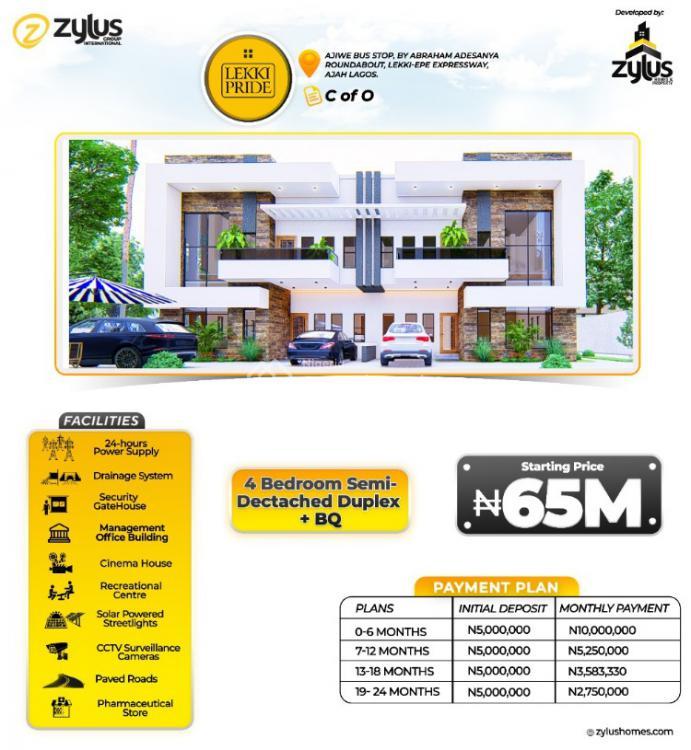 Luxury 4 Bedroom Semi-detached Duplex + Bq with C of O, Lekki Pride Estate, Ajiwe Bus Stop, By Abraham Adesanya Roundabout, Lekki Expressway, Lekki, Lagos, Semi-detached Duplex for Sale