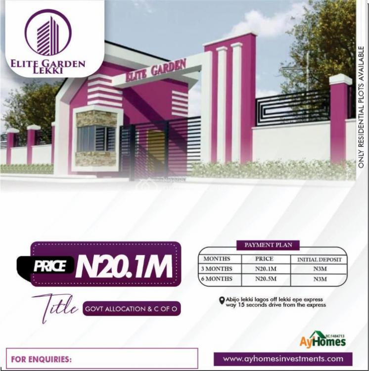 Affordable Residential Land with C of O in a Developing Area, Elite Garden Estate, Beside Hockley Estate, Abijo, Lekki, Lagos, Residential Land for Sale