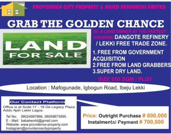 Plots of Dry Land, Mafogunnade, Ibogun Road, After Sangotedo Refinery, Ibeju Lekki, Lagos, Land for Sale