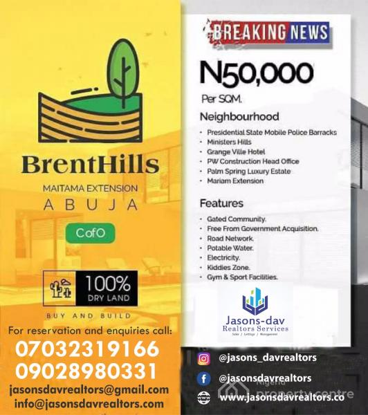 Buy and Build Land at  Brenthills Estate,maitama, Abuja, 5min Drive From Presidential State of Mobile Police Barracks, Maitama District, Abuja, Mixed-use Land for Sale