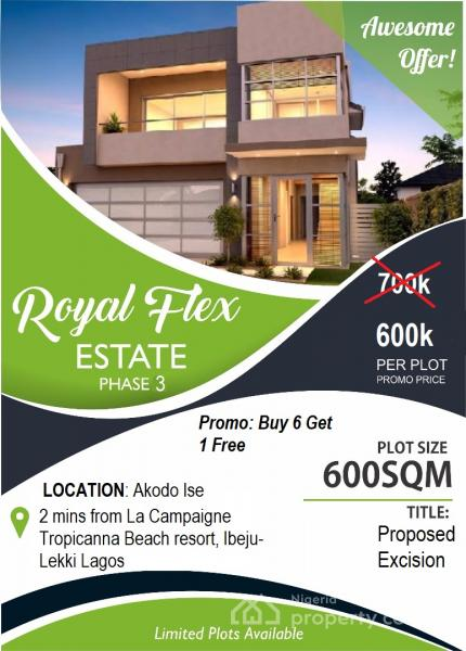 Plots of Land, Royal Flex Estate Phase 3, Less Than 2minutes Drive From La Capaigne Tropicana Beach Resort, Akodo Ise, Ibeju Lekki, Lagos, Mixed-use Land for Sale