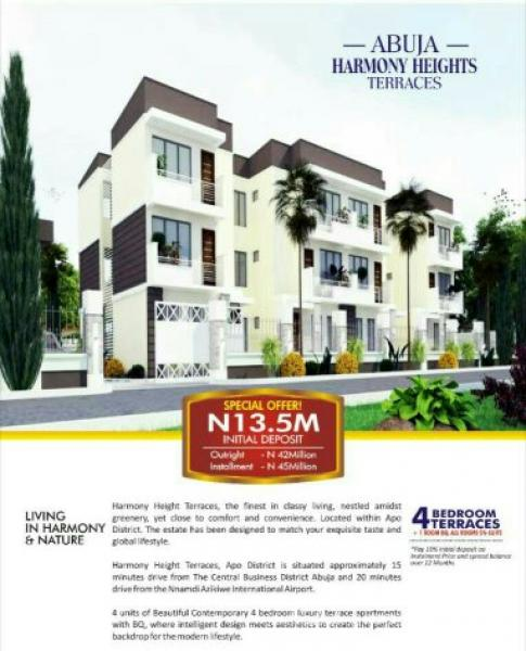 Harmony Heights Terraces, 15 Min Drive From Central Business District, Abuja., Apo, Abuja, Terraced Duplex for Sale