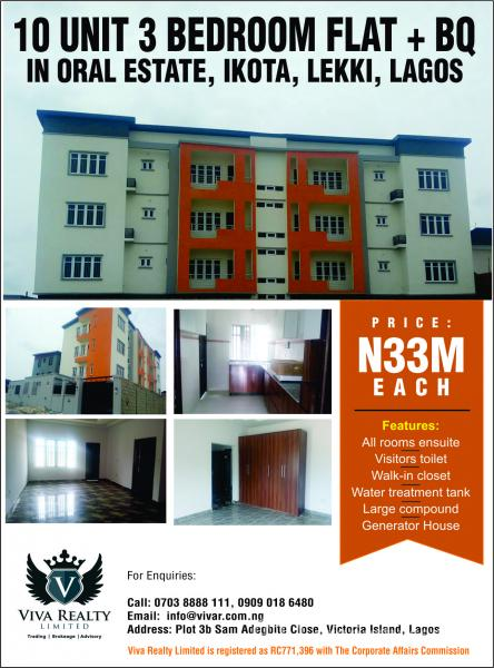 Affordable 3-bedroom Flats in Oral Estate, Oral Estate, Lafiaji, Lekki, Lagos, Flat for Sale