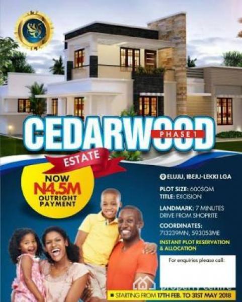 100% Good Dry Land with Good Excision Title Off Ajah-epe Express, Eluju - Cedarwood Estate Phase 1, Eluju, Ibeju Lekki, Lagos, Residential Land for Sale