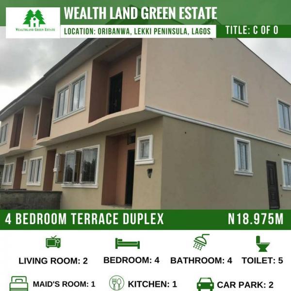 4 Bedroom Duplex, Wealthland Estate, Oribanwa, Ibeju Lekki, Lagos, Terraced Duplex for Sale