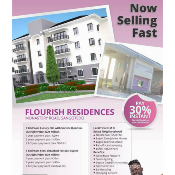 3 Bedroom Luxury Apartments- Own One Today with N8.4m, Along Monastery Road, Behind Novare Shoprite, Sangotedo, Ajah, Lagos, Block of Flats for Sale