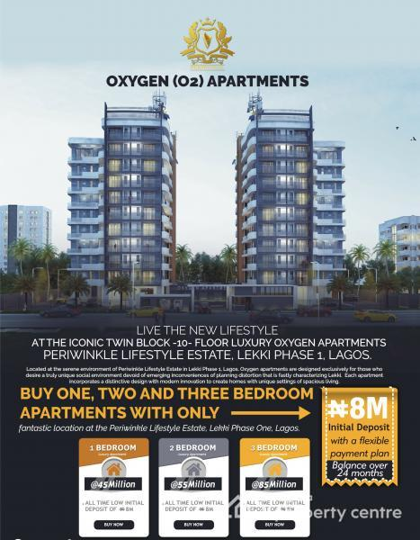 Off Plan : Contemporary 3 Bedroom Flat with  Excellent Facilities ( Water  Facing ), Off Freedom Way, Lekki Phase 1, Lekki, Lagos, Block of Flats for Sale