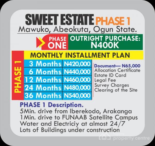 Sweet Estate/residential, Mawuko, Along Akomoje Arakanga Road, Odeda, Ogun, Residential Land for Sale