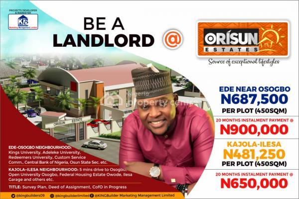 Plots of Land in an Estate, Orisun Estate Ede, Osogbo, Osun, Residential Land for Sale
