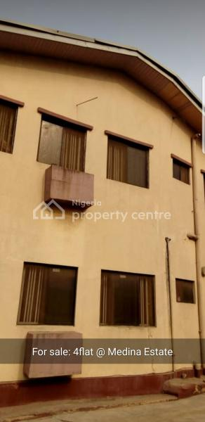 Spacious Block of 4 Flats of 3 Bedroom Flats, Alhaja Toybat, Medina, Gbagada, Lagos, Block of Flats for Sale