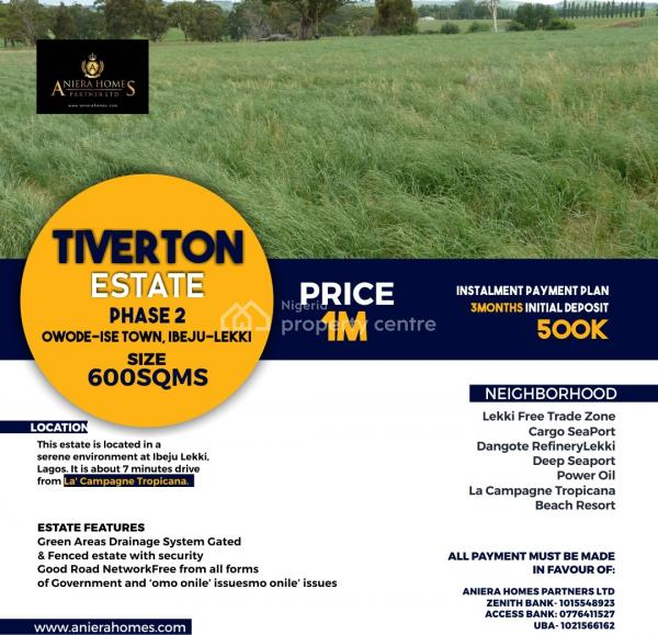 Tiverton Estate Phase, 7 Mins Drive From La Champagne Tropicana, Ibeju Lekki, Lagos, Land for Sale