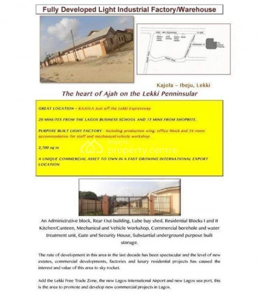 Purpose-built Factory/warehouse in Ajah Axis on Plot Measuring 2.700sqms, Bogije, Ibeju Lekki, Lagos, Factory for Sale