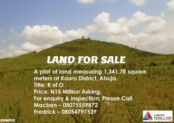 a Plot of Land Measuring 1,341.78 M2 Title: R of O, Games Village, Kaura, Abuja, Residential Land for Sale