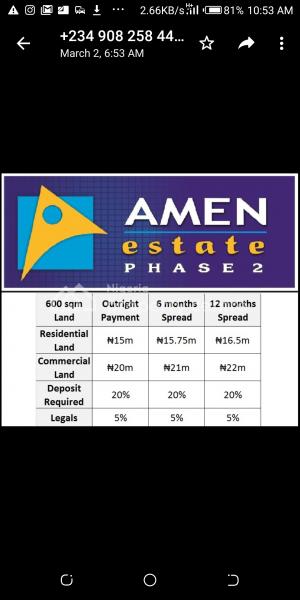 Amen Estate Phase 2, Eleko, Ibeju Lekki, Lagos, Mixed-use Land for Sale
