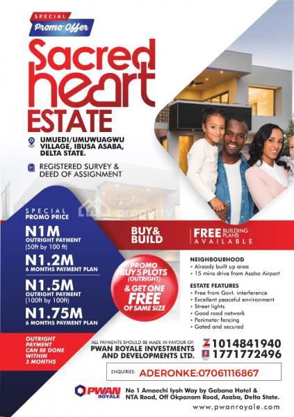 Sacred Heart, Umuedi/umuwuagwu Ibusa, Asaba, Delta, Residential Land for Sale