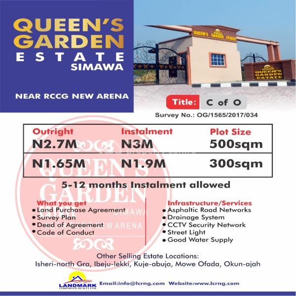Land, Queens Garden Estate, Simawa, Ogun, Mixed-use Land for Sale
