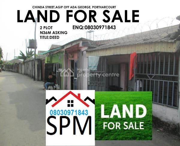 2 Plots, Chinda Street,agip,off Ada George., Port Harcourt, Rivers, Detached Bungalow for Sale