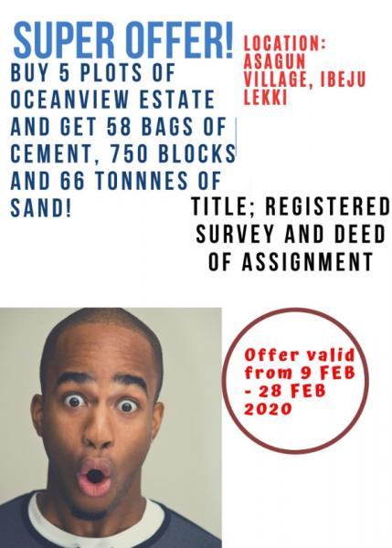 Excellent Beach Front Property with Survey and Deed of Assignment, Ocean View Estate, Asegun, Ibeju Lekki, Lagos, Mixed-use Land for Sale