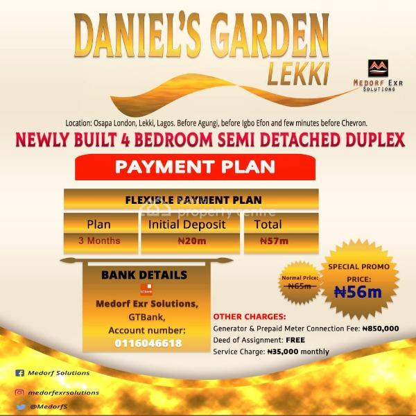 Luxury 4 Bedroom Semi Detached Duplex with Bq, Daniels Garden, Lekki, Osapa, Lekki, Lagos, Semi-detached Duplex for Sale