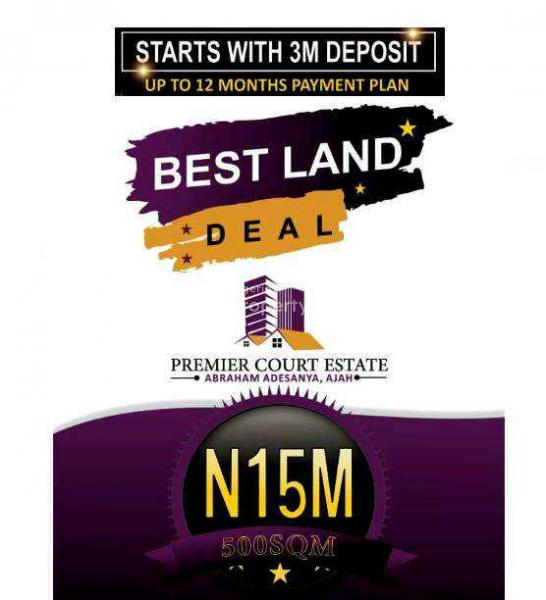 Premier Court Estate (with C of O), 2minutes From Abraham Adesanya Estate, Ogombo, Ajah, Lagos, Residential Land for Sale