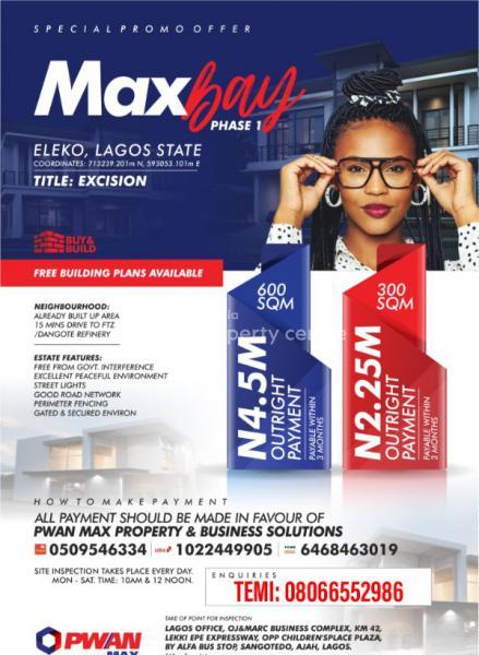 Land, Max Bay Phase 1 Estate, Eluju & Pan African University Eleko Environment., Eleko, Ibeju Lekki, Lagos, Mixed-use Land for Sale