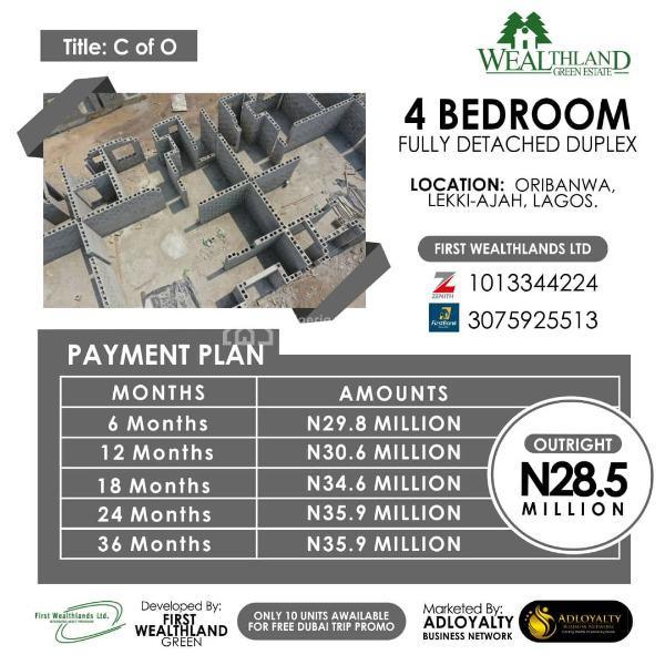 Lovely 4 Bedroom Duplex Available, Wealthlands Estate, Oribanwa, Ibeju Lekki, Lagos, Detached Duplex for Sale