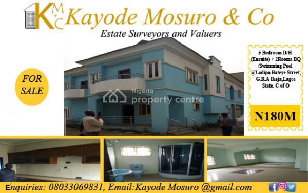 5 Bedroom Detached House (en-suite)+ 2 Room Bq/swimming Pool., Ladipo Bateye Street, Ikeja Gra, Ikeja, Lagos, Detached Bungalow for Sale