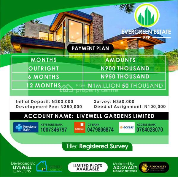 Evergreen Estate, a Good Site to Build a Home. Buy 5 Plots Get 1 Free, Odo-egiri, Epe., Epe, Lagos, Residential Land for Sale
