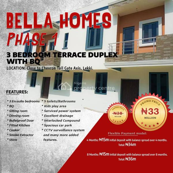 Smart and Standard 3 Bedroom Terrace Duplex in a Good and Serene Est., on Orchid Road, 5mins Drive After Orchid Hotel, Lafiaji, Lekki, Lagos, Terraced Duplex for Sale