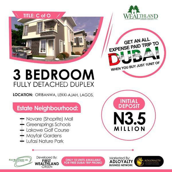 3 Bedroom Fully Detached Duplex, Classy Built Homes with 36months Payment Plan at Oribanwa, Ajah, Lagos, Detached Duplex for Sale