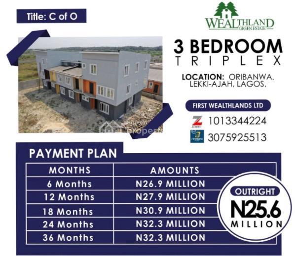 3 Bedroom Triplex, Wealthland Green Estate, Oribanwa, Lekki-ajah, Lagos., Sangotedo, Ajah, Lagos, Detached Duplex for Sale