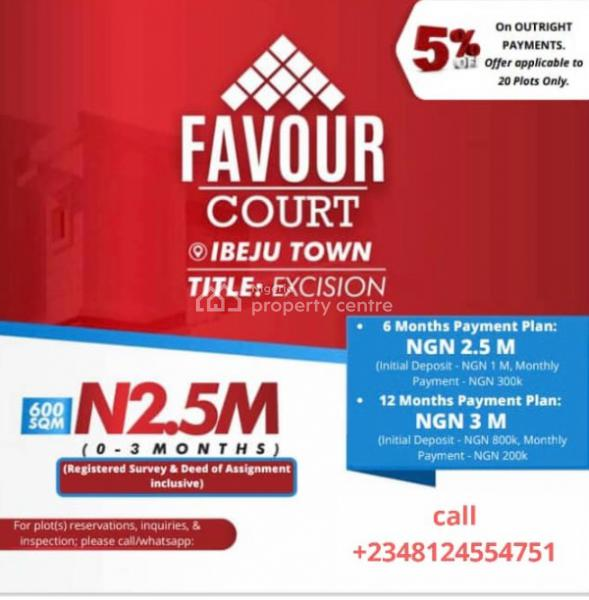 Excision Dry Land, Favour Court, Near Pan Atlantic University, Ibeju, Lagos, Residential Land for Sale