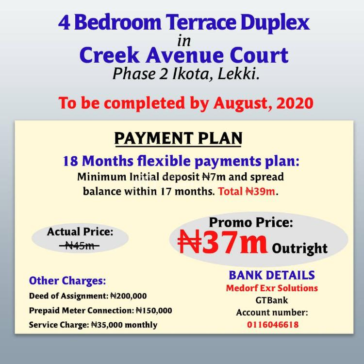 Get Your Keys with a Little Deposit to a Tastefully Finished House, Between Chevron and Vgc, Lekki Phase 2, Creek Avenue Court, Ikota, Lekki, Lagos, Terraced Duplex for Sale