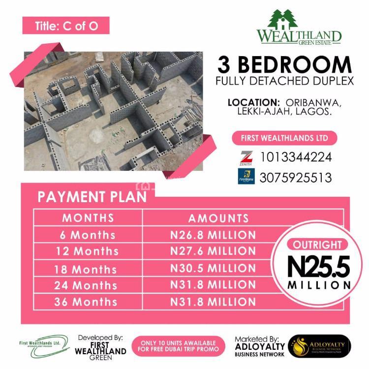 Exquisitely 3 Bedroom Fully Detached Duplex, Wealthland Green Estate, Ekki-ajah, Oribanwa, Ibeju Lekki, Lagos, Detached Duplex for Sale