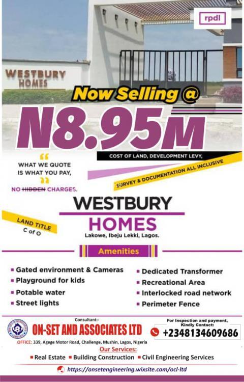Estate Land, Westbury Estate, Lakowe, Ibeju Lekki, Lagos, Residential Land for Sale