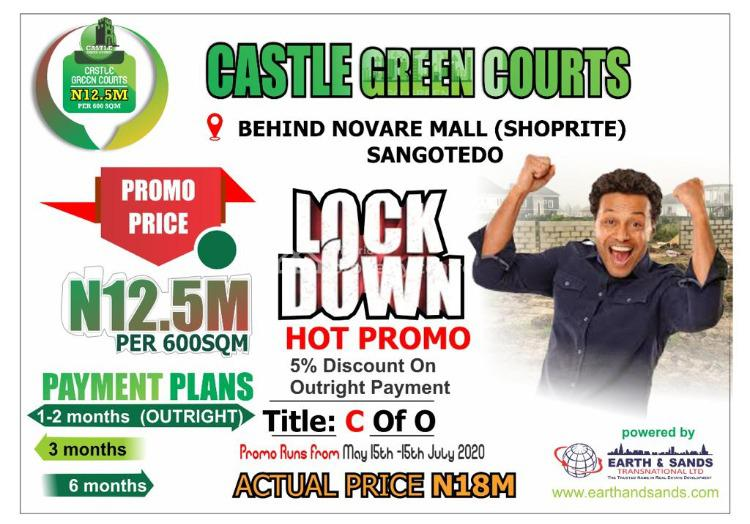 Castle Green Courts 60 Days Lockdown Promo!!!, Cmb Road, Behind Shoprite (novare Mall) Off Monastery Road, Eti-osa, Sangotedo, Ajah, Lagos, Mixed-use Land for Sale