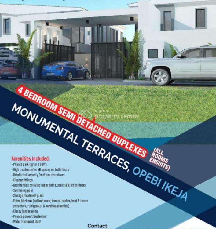 The Monumental Terraces: 4bdroom Semi Detached Duplex, Opebi, Ikeja, Lagos, Semi-detached Duplex for Sale