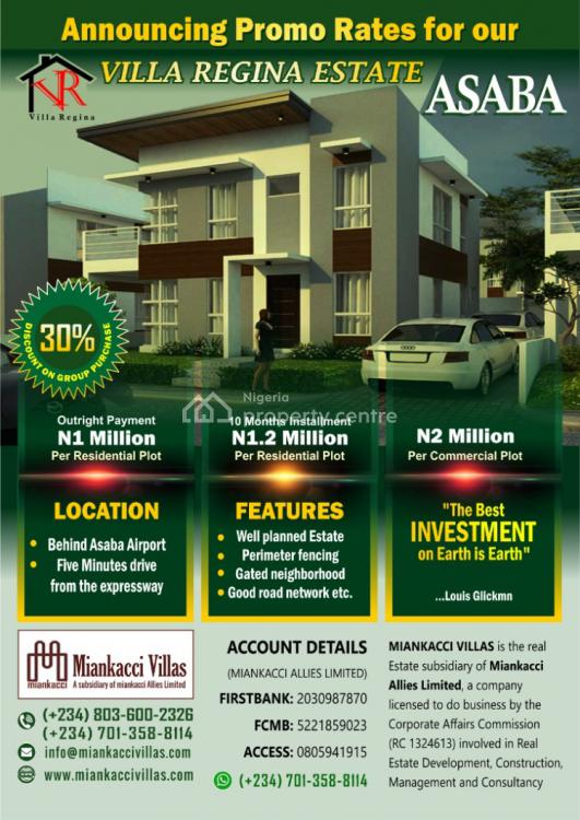 50 X 100 Residential Land, Behind Asaba Airport, Villa Regina Estate, Asaba, Delta, Residential Land for Sale