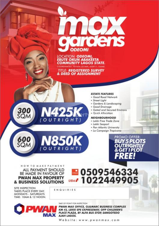 Max Gardens Standard Estate Buy 5 Get 1 Free, Ibeju Lekki, Lagos, Mixed-use Land for Sale