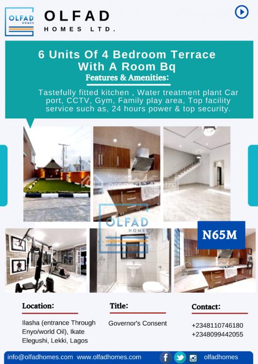 1 Unit of 4 Bedroom Terrace with a Room Bq, Ilasha (entrance Through Enyo/world Oil), Ikate Elegushi, Lekki, Lagos, Terraced Duplex for Sale