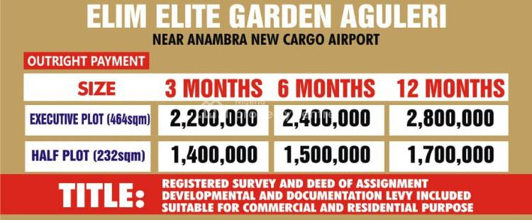 Promo, Elim Elite Garden, Anambra, Anambra, Residential Land for Sale