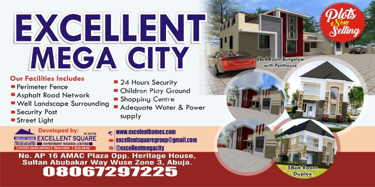 4 Bedroom with a Penthouse 600sqm, Lugbe District, Abuja, Residential Land for Sale