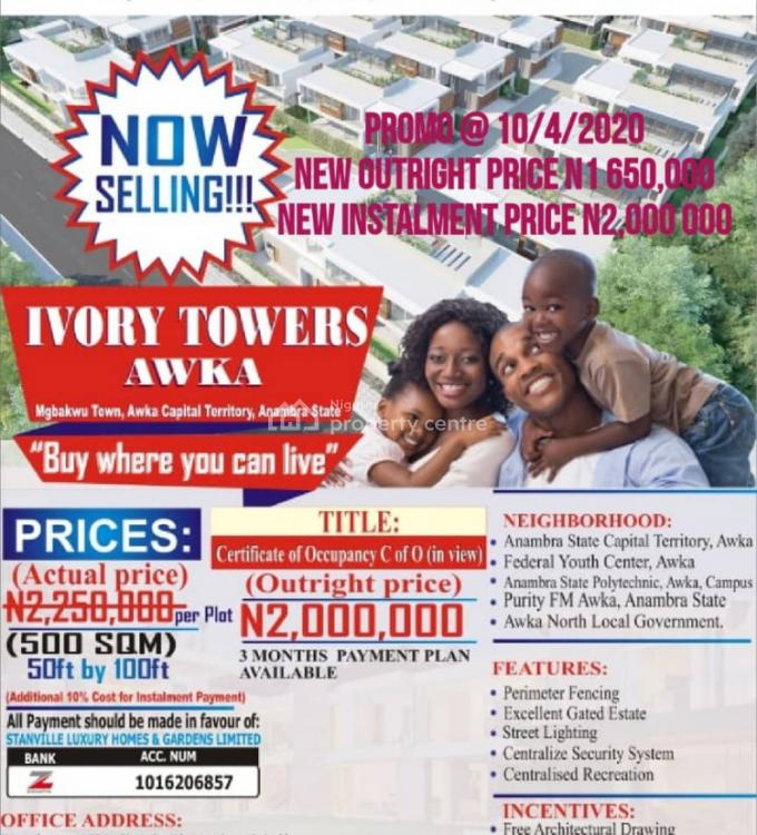 Most Affordable & Classic Land Inside Prime Location, Ivory Towers Estate, Awka, Anambra, Mixed-use Land for Sale