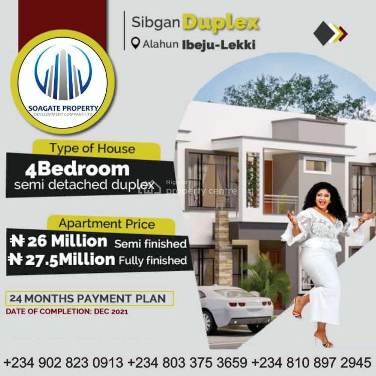 Luxury 4 Bedroom Semi-detached Town-house with 2 Rooms Bq, Sibgan Avenue, Alahun By Beechwood Estate, Bogije, Ibeju Lekki, Lagos, Semi-detached Duplex for Sale
