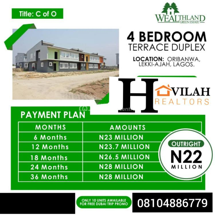 Luxury Home, Wealth Land Green Estate, Oribanwa, Lekki, Lagos, Terraced Duplex for Sale