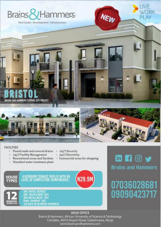 4 Bedroom Terrace with Bq., Brains and Hammers  (bristol), Galadimawa, Abuja, Terraced Duplex for Sale