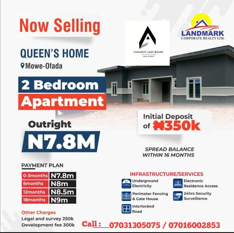 Newly Built 2 Bedroom Estate Apartments with C of O, Mowe Ofada, Ogun, Detached Bungalow for Sale
