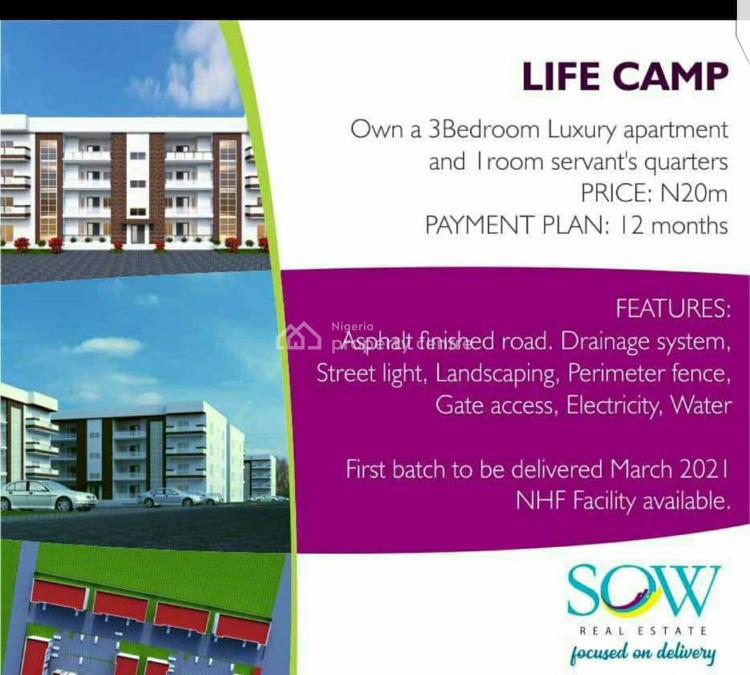 Luxury 3 Bedroom Block of Flats with 1 Bq. (off Plan), Life Camp, Abuja, Flat for Sale